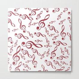 Treble Clef - Pattern - Red Metal Print