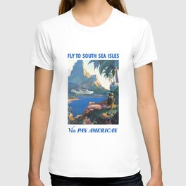 1940 FLY TO THE SOUTH SEA ISLES Via Pan American Airlines Travel Poster T-shirt
