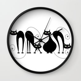 Four Cats / Cuatro Gatos Wall Clock