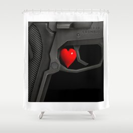 Wait! Guns, firearms power Shower Curtain