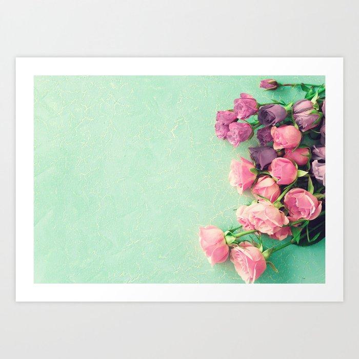 Turquoise peonies Art Print