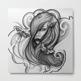Lady Moth B&W Metal Print