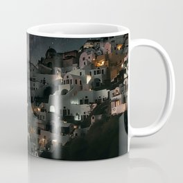 WHITE AND BLACK HOUSES NEAR BODY OF WATER DURING NIGHT TIME Coffee Mug