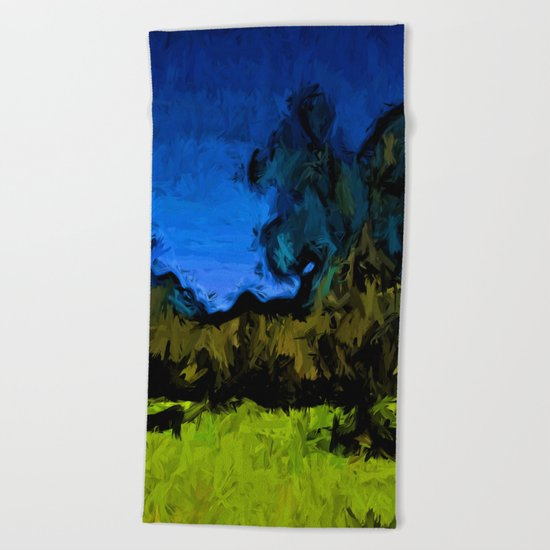 Gold Trees in the Blue Wind Beach Towel