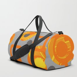 Orange yellow Rings Rectangles grey geometric Duffle Bag