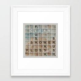 Bathroom 'Scrabble' Letters Framed Art Print