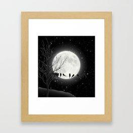 Moon Bath, Birds On A Wire Framed Art Print