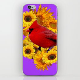 RED CARDINAL & YELLOW SUNFLOWERS PANTENE PURPLE iPhone Skin