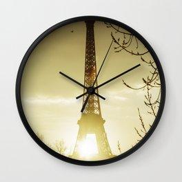 Paris eiffel tower and Seine river. Wall Clock