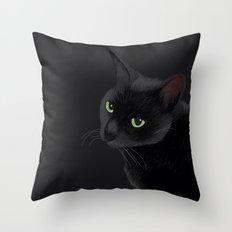 Black cat in the dark Throw Pillow