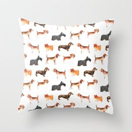 Dachshunds, terriers, Spitz -pom puppies Throw Pillow