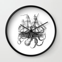 Octopus Attacks Ship on White Background Wall Clock