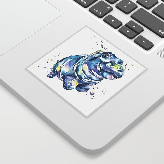 Hippo Colorful Watercolor Hippo Painting - Grace by whitehouseart