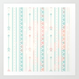 Geometrical blush blue coral pink bohemian arrows Art Print