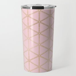 Hint of Gold-Millennial Pink and Gold Pattern Travel Mug