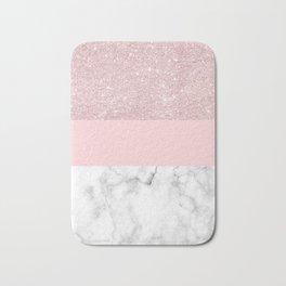 Rose gold glitter, blush pink & white marble Bath Mat