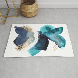 Ebb and Flow - Abstract Mixed Media Painting Coastal Art Rug