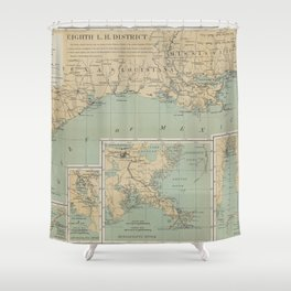 Vintage US Gulf of Mexico Lighthouse Map (1898) Shower Curtain