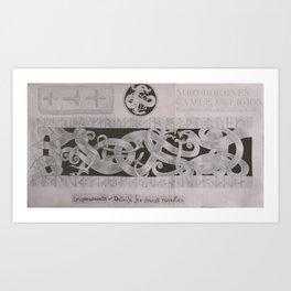 Drageornamenrtik - Detalje fra Svensk Runesten Art Print
