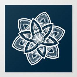 Authentic white mandala on blue Canvas Print
