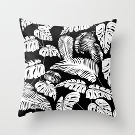Tropical leaves pattern Throw Pillow