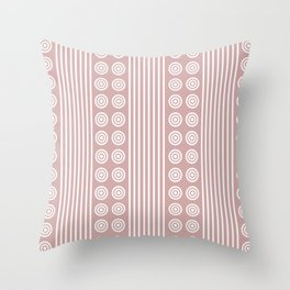 Geometric Stripes and Circles - White on Dusky Pink Throw Pillow
