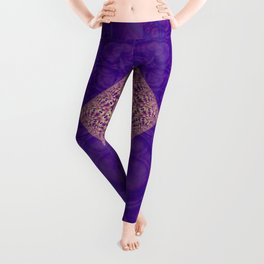 Intersection of abstract purple fractal forms Leggings