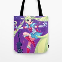 sailor moon Tote Bags featuring Sailor Moon by ZoeStanleyArts