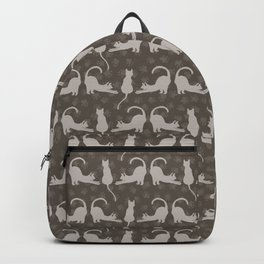 Brown and Gray Cute Stretching Cats Vector Pattern Backpack