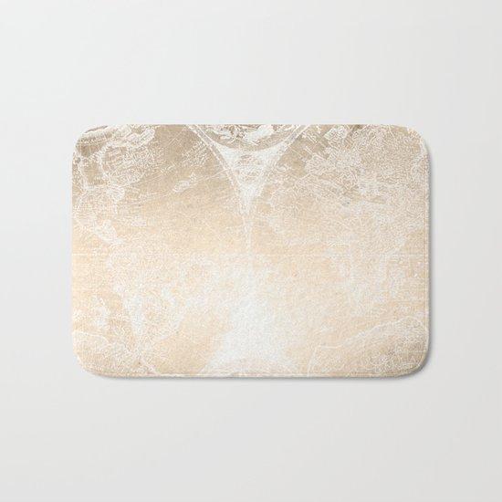 Antique World Map White Gold Bath Mat
