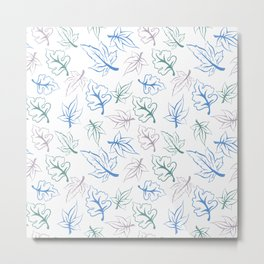 Pastel Leaves Pattern Metal Print