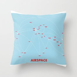 Air route and airport hub Airspace map Throw Pillow