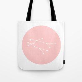 Gemini Star Sign Soft Pink Circle Tote Bag