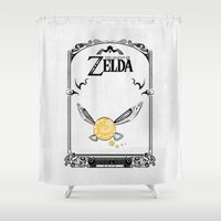 legend of zelda Shower Curtains featuring Zelda legend - Navi by Art & Be