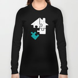 Puzzle in Turquoise puzzle day logical thinking brain teasers Long Sleeve T-shirt