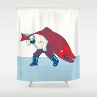 fish Shower Curtains featuring Big Fish by Andrew Henry
