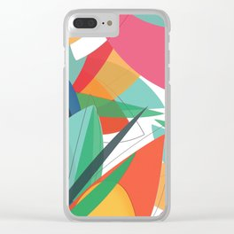Abstract multicolored tropical flower, bird of paradise, superimposed shapes and transparencies Clear iPhone Case