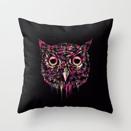 Colored Owl Throw Pillow