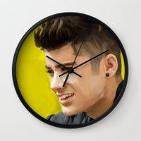 zayn malik Wall Clocks featuring Zayn Malik by Tune In Apparel