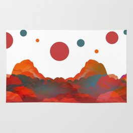 """Coral Sci-Fi Mountains"" Rug"