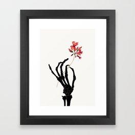 Skeleton Hand with Flower Framed Art Print