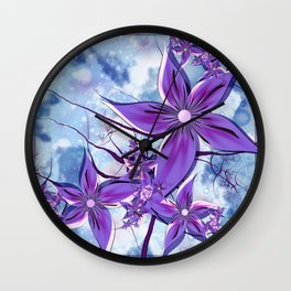 Painted Flowers Fractal Wall Clock