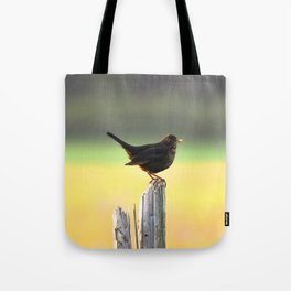Blackbird on a Wooden Post Tote Bag