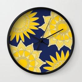 Sunshine yellow navy blue abstract floral mandala Wall Clock
