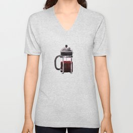 French Press - Red Unisex V-Neck