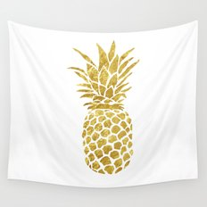 Golden Pineapple Wall Tapestry