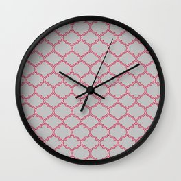 Grey and Red Lattice Wall Clock