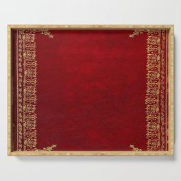 Red and Gilded Gold Book Serving Tray