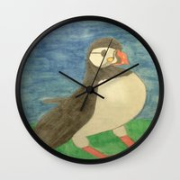 puffin Wall Clocks featuring Puffin by Danielle Gensler