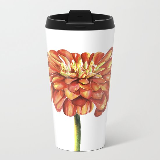 Red flower. Watercolor Metal Travel Mug
